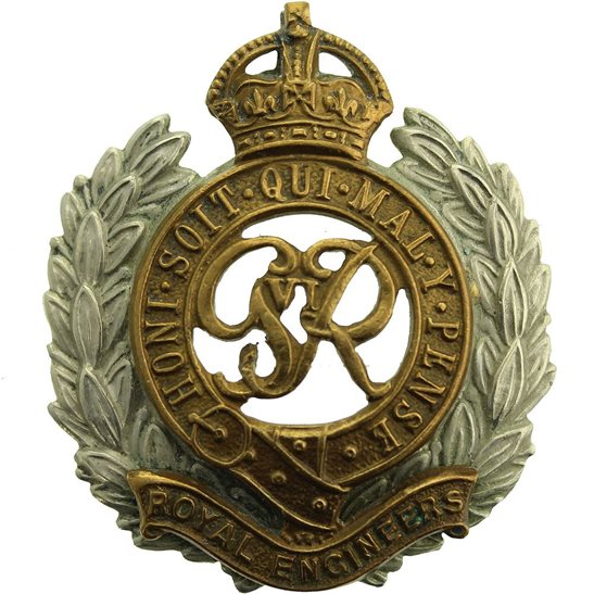Royal Engineers WW2 Royal Engineers Corps (George VI) BI-METAL Cap Badge