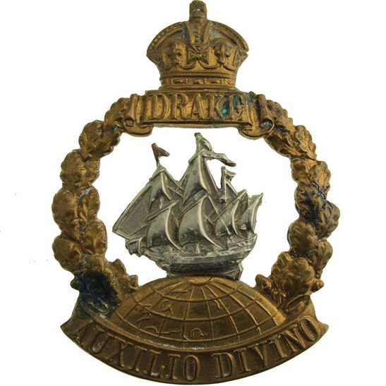 Royal Naval Division WW1 Royal Naval Division RND DRAKE Battalion Navy Cap Badge