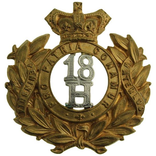 18th Hussars VICTORIAN 18th Hussars (Queen Mary's Own) Regiment Cap Badge