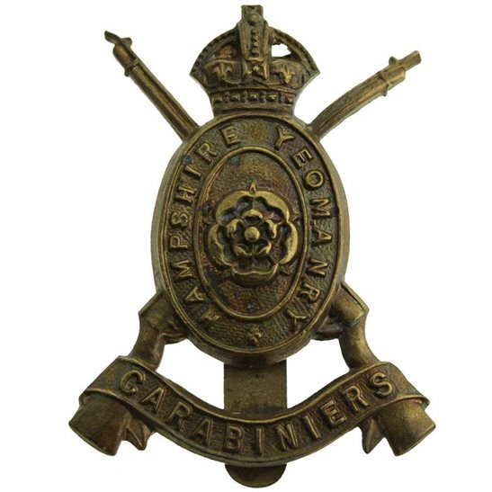 Hampshire Yeomanry WW1 Hampshire Yeomanry Carabiniers Regiment ALL BRASS Economy Issue Cap Badge