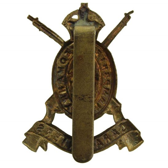 additional image for WW1 Hampshire Yeomanry Carabiniers Regiment ALL BRASS Economy Issue Cap Badge
