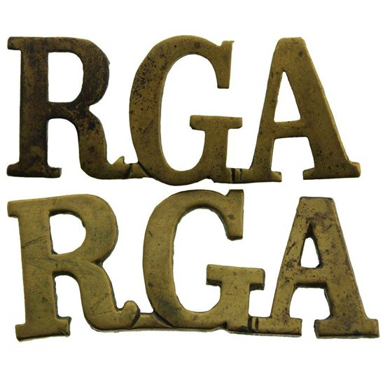 Royal Garrison Artillery RGA WW1 Royal Garrison Artillery RGA Shoulder Title PAIR
