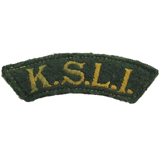 Kings Shropshire Light Infantry KSLI WW2 Kings Shropshire Light Infantry KSLI Regiment Cloth Shoulder Title Badge Flash