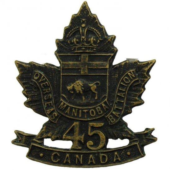 WW1 Canadian Army WW1 Canadian 45th Battalion (Manitoba) Canada CEF Collar Badge