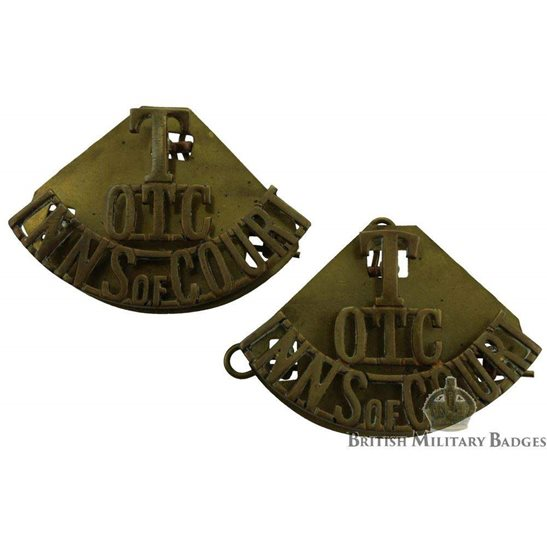 Territorial OTC Inns of Court Regt. Officers Training Corps Shoulder Title PAIR