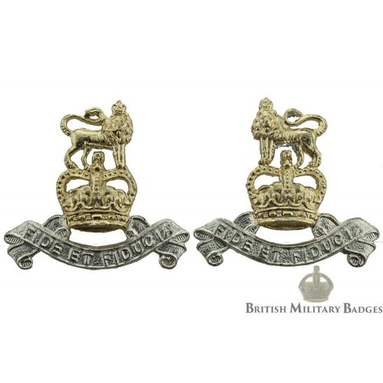 Royal Army Pay Corps RAPC Staybrite Collar Badge PAIR