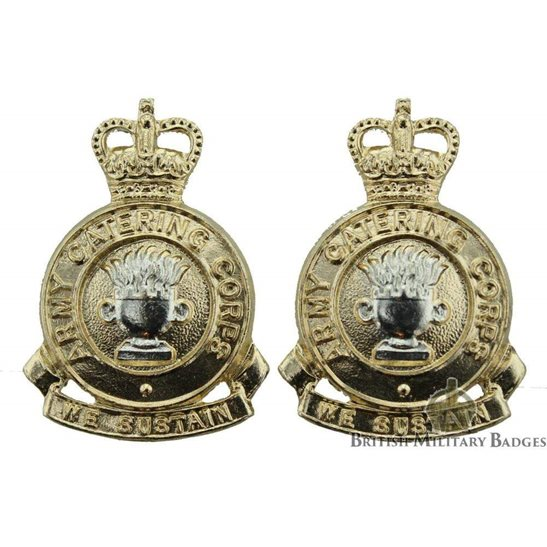 Army Catering Corps Staybrite Collar Badge PAIR