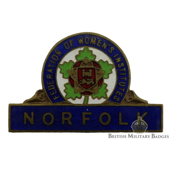 Federation of Womens Institute Norfolk Branch Enamel Lapel Badge