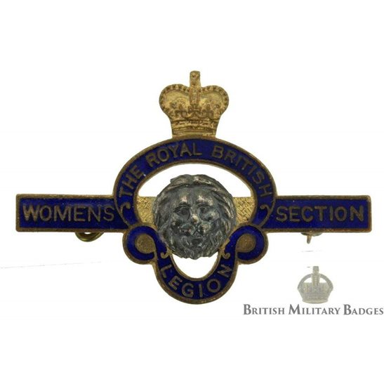 Womens Section Royal British Legion Lapel Badges - Queens Crown