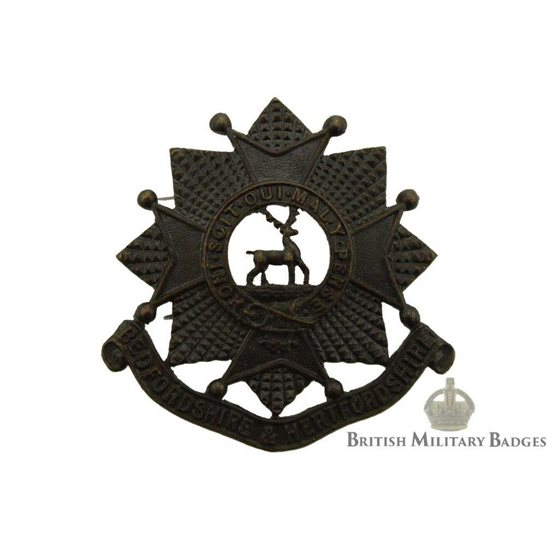 Bedfordshire & Hertfordshire Regiment OFFICERS Bronze Collar Badge