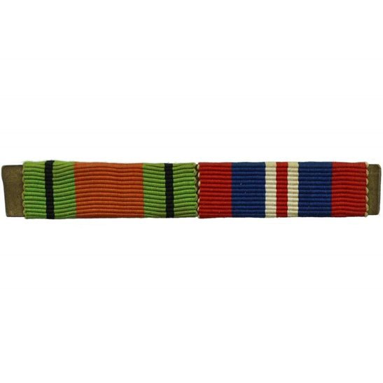 WW2 Medal Ribbon Bar - 1939-45 Defence & War Medal - PIN BACK
