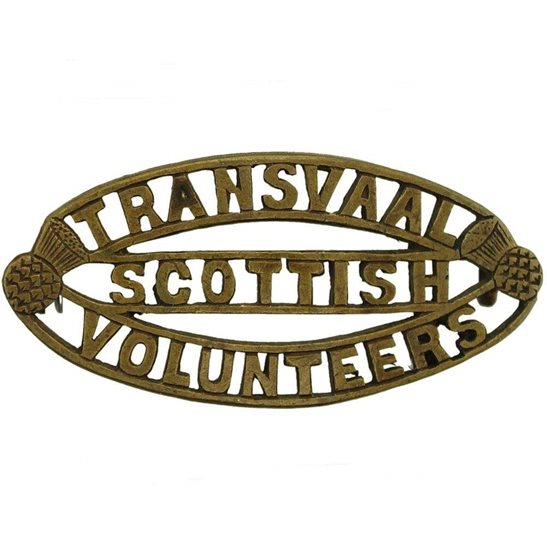 South African Army South African Transvaal Scottish Volunteers Regiment Shoulder Title