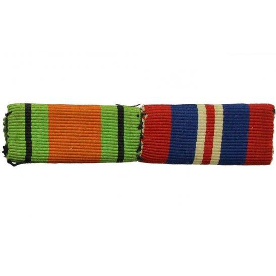 WW2 Medal Ribbon Bar - 1939-45 Defence & War Medal - SEW ON
