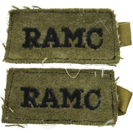 Royal Army Medical Corps RAMC WW2 Royal Army Medical Corps RAMC Cloth SLIP-ON Shoulder Title Badge Flash PAIR