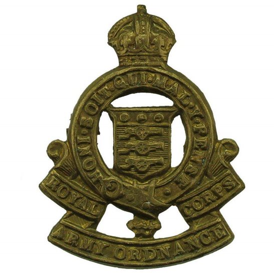 Royal Army Ordnance Corps RAOC WW2 Royal Army Ordnance Corps RAOC Collar Badge