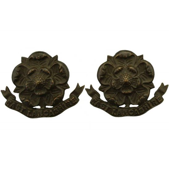 East Lancashire East Lancashire Regiment OFFICERS Bronze Collar Badge PAIR