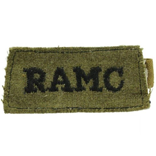 Royal Army Medical Corps RAMC WW2 Royal Army Medical Corps RAMC Cloth SLIP-ON Shoulder Title Badge Flash