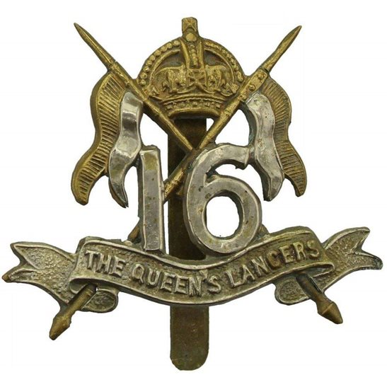 16th Lancers WW1 16th (The Queens Lancers) Regiment Cap Badge