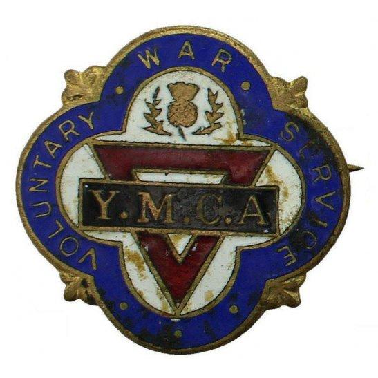 WW2 Scottish YMCA Voluntary War Worker Service Enamel Lapel Badge