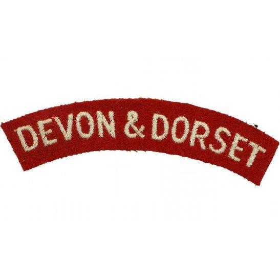Devon and Dorset 1950s National Service Devon and Dorset Regiment Cloth Shoulder Title Badge Flash