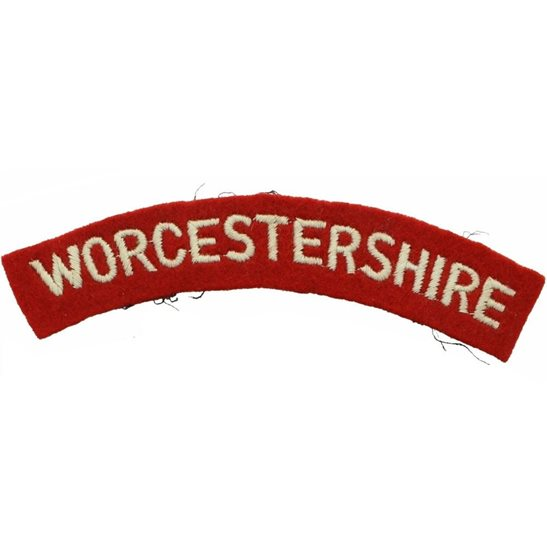 Worcestershire Regiment 1950s National Service Worcestershire Regiment Cloth Shoulder Title Badge Flash