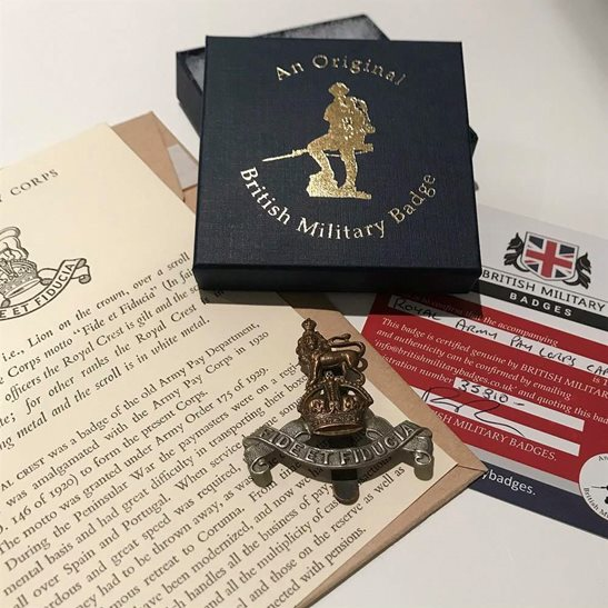 Royal Army Pay Corps RAPC Royal Army Pay Corps RAPC Cap Badge in Presentation Gift Box