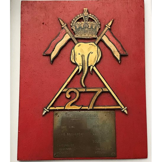 additional image for WW2 Raised 27th Lancers Regiment Battle Honours Wooden Plaque Badge