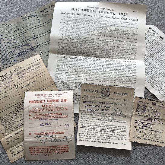 Collection of WW1 Ration Booklets and Home Front Rationing Documents