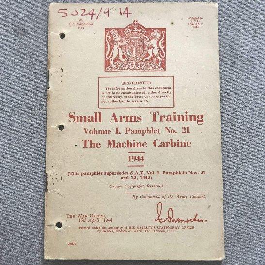 British Small Arms Weapon Training Sten Thompson Machine Gun Manual Book 1944