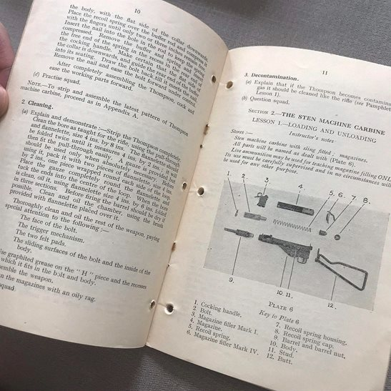 additional image for British Small Arms Weapon Training Sten Thompson Machine Gun Manual Book 1944