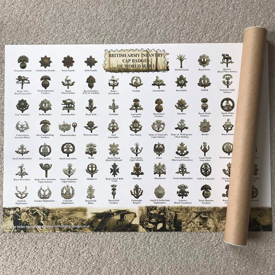 WW1 British Infantry Regiment Cap Badges Identification Guide A2 Poster - ROLLED