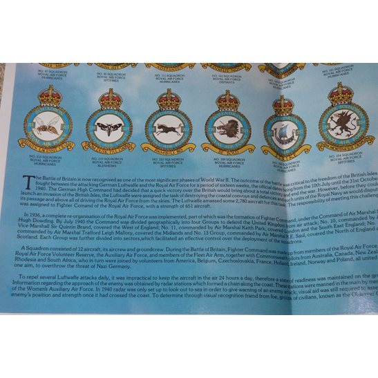 additional image for WW2 Battle of Britain Royal Air Force RAF Squadron Badges, Planes & Airfields Guide Poster A1