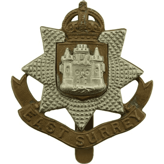 East Surrey WW1 East Surrey Regiment Cap Badge