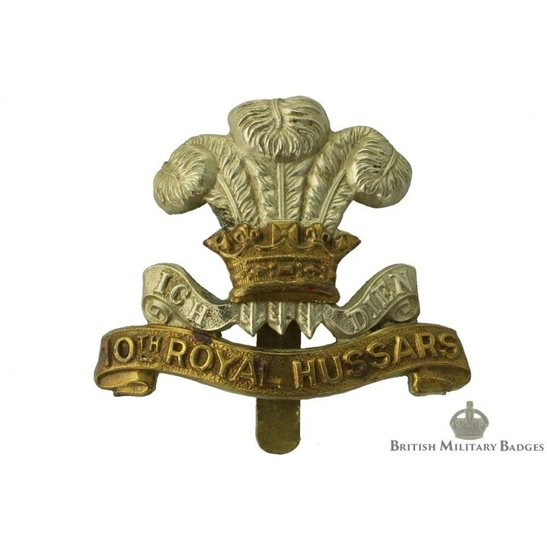 10th Royal Hussars Regiment Cap Badge - JR GAUNT LONDON Makers Mark