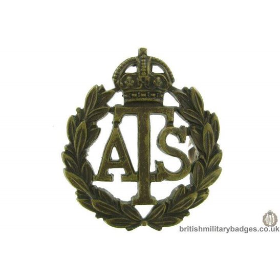 Auxiliary Territorial Service Corps OFFICERS Bronze ATS Collar Badge
