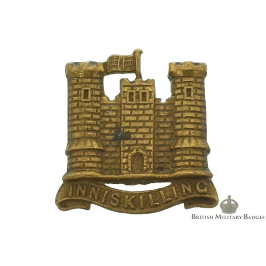 5th Royal Inniskilling Dragoon Guards Irish Regiment Collar Badge - ALL BRASS