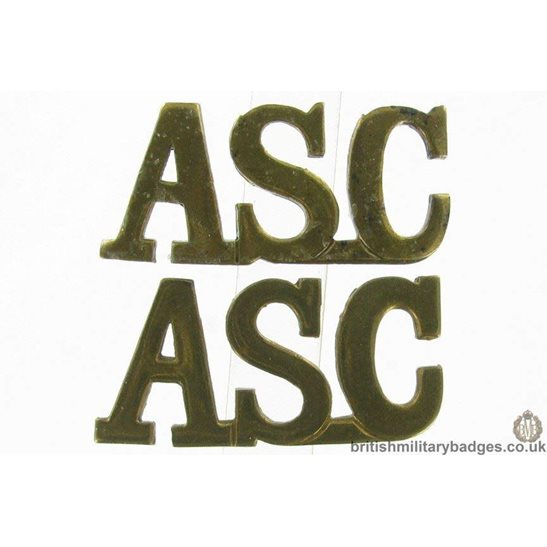 Army Service Corps ASC Shoulder Title PAIR