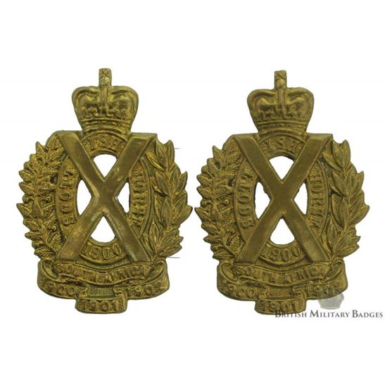 Scottish Horse Regiment Collar Badge PAIR