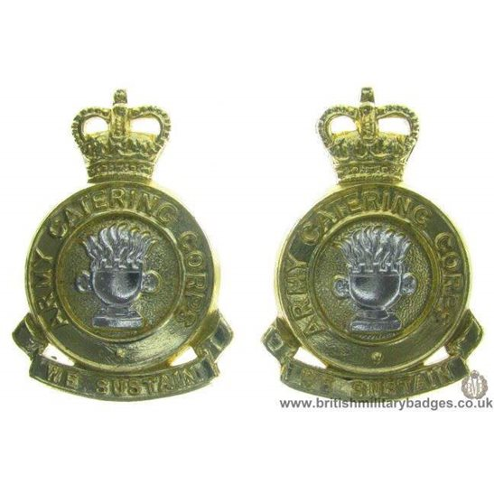F1C/07 - Army Catering Corps ACC Staybrite Collar Badge Pair