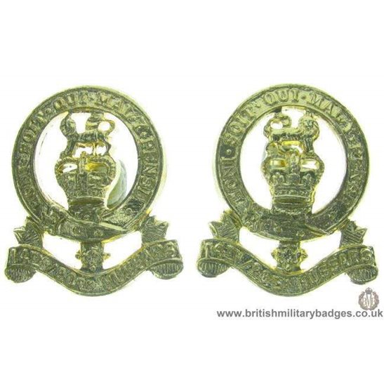 F1C/12  14th / 20th Hussars Regiment Staybrite Collar Badge Pair