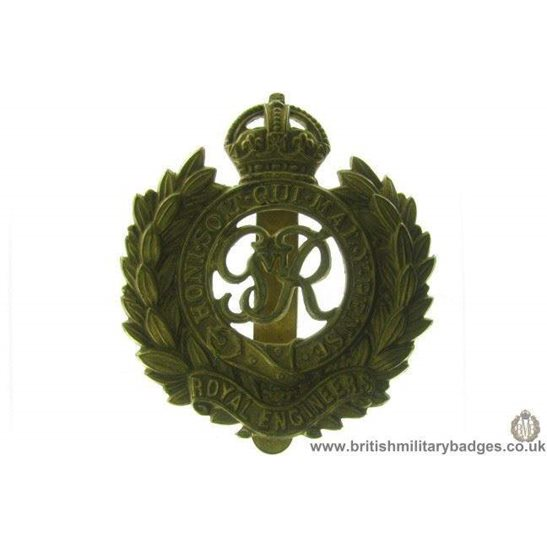 "A1B/43 - Royal Engineers Corps ""George VI"" Cap Badge"
