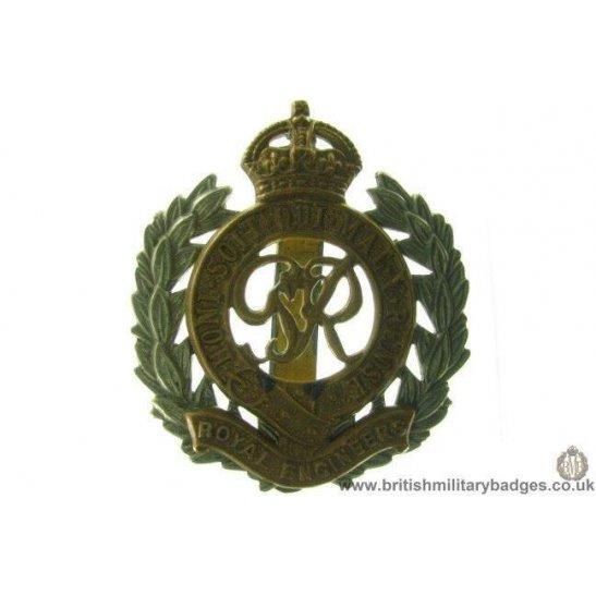 "A1C/09 - Royal Engineers Corps Bi-Metal ""George VI"" Cap Badge"