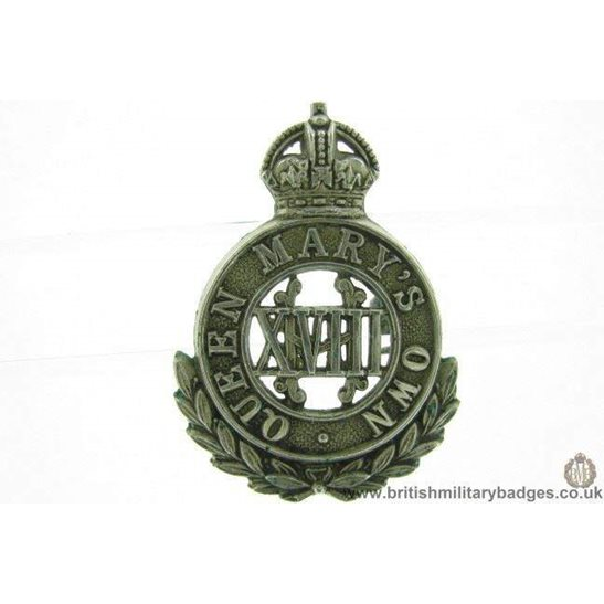 A1F/27 -  Queen Marys Own 18th Hussars Regiment Cap Badge - LUGS