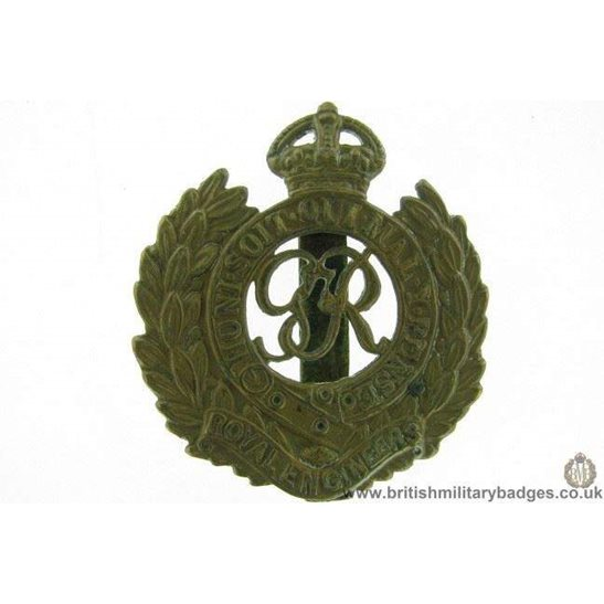 "A1F/29 - Royal Engineers Corps ""George VI"" Cap Badge"