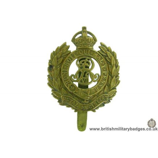 "A1F/55 - Royal Engineers Corps ""Edward VII"" Cap Badge"