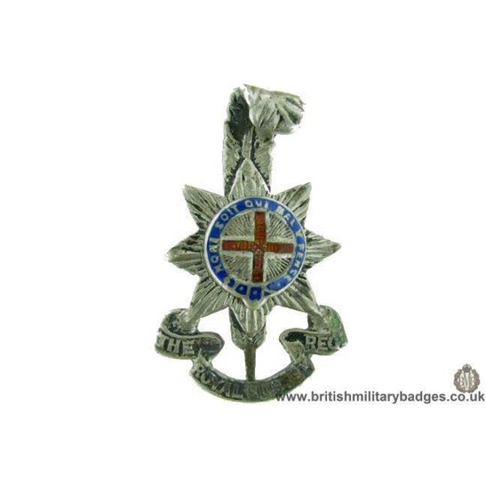 A1G/04 - Royal Sussex Regiment OFFICERS Metal & Enamel Cap Badge