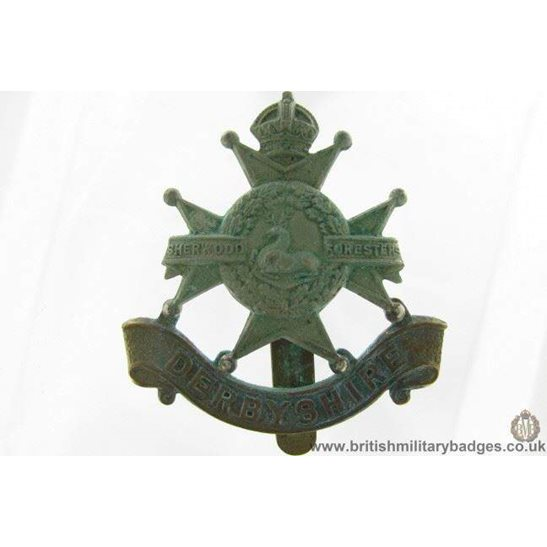 A1G/79 - EDWARDIAN Derbyshire Regiment Cap Badge