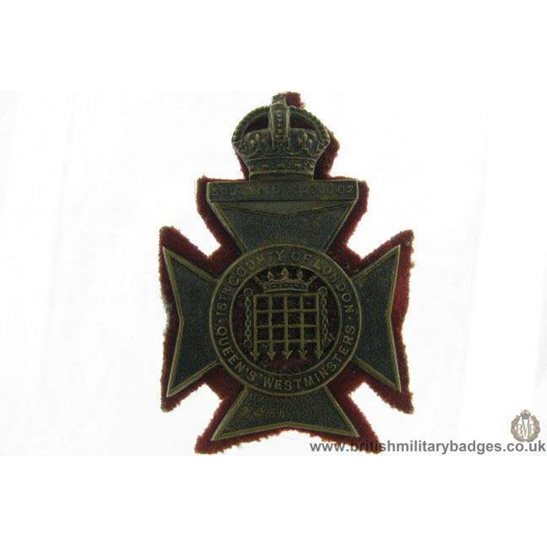 A1G/81  16th Bn. (Queen's Westminster Rifles) OFFICERS Cap Badge