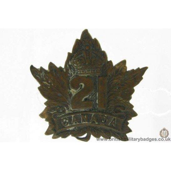 A1G/85 - 21st (Eastern Ontario) Overseas Battalion CEF Cap Badge