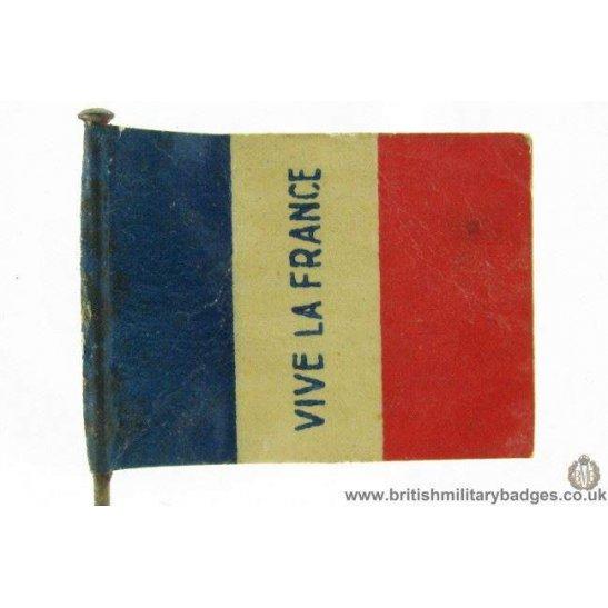 "K1B/42 - WW1 ""Vive La France"" Flag Day Fundraising Pin Badge"
